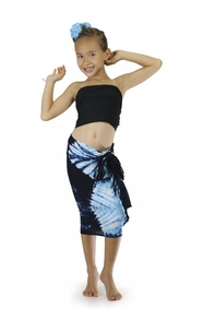 "Girls Tie Dye Half Sarong ""Jungle Baby Blue"""