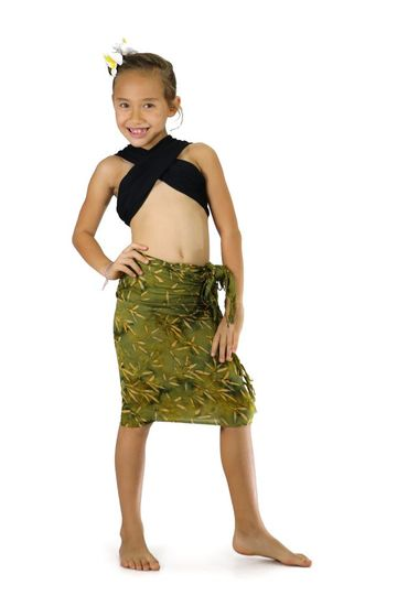 "Girls Tiny Leaves Half Sarong ""Light Green / Tan"""