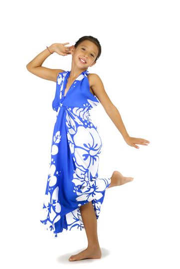 Girls Triple Lei Sarong in Blue/White
