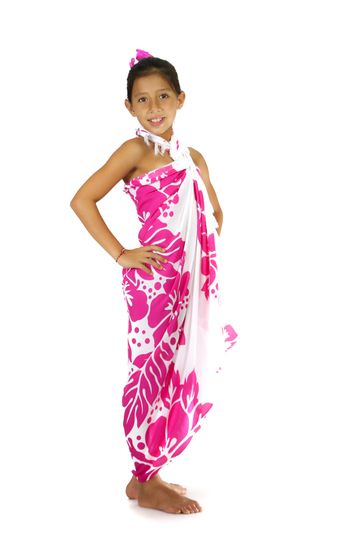 Girls Triple Lei White Sarong in Pink/White