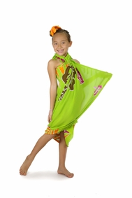 Girls Tropical Floral Sarong in Lime Green