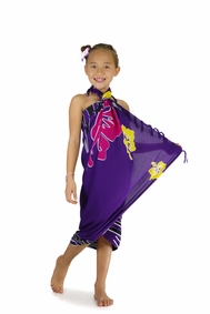 Girls Tropical Floral Sarong in Purple