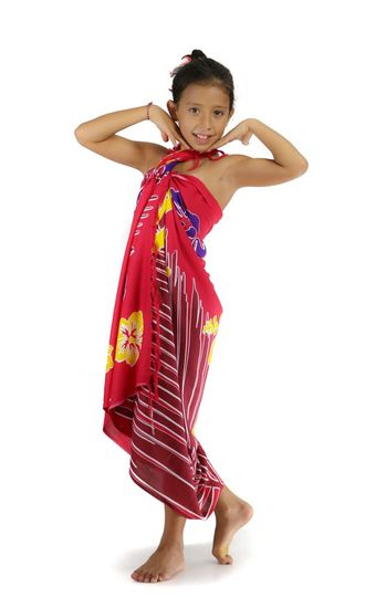 Girls Tropical Floral Sarong in Red