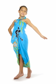Girls Tropical Floral Sarong in Turquoise