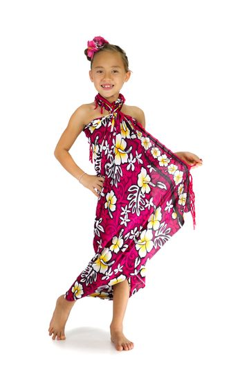 Girls Vivid Hibiscus Flower Sarong in Hot Pink