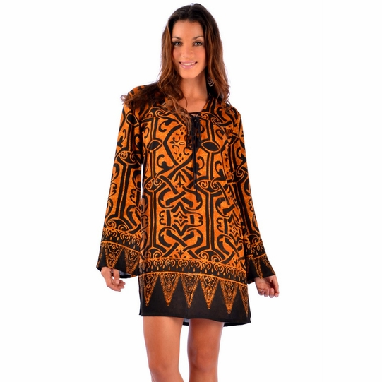 Goldish Brown Abstract Tribal Tunic Cover Up - Final Sale - No Returns