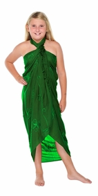 Green Embroidered Girls Sarong - Final Sale - No Returns