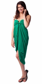 Green Embroidered Sarong - Final Sale - No Returns