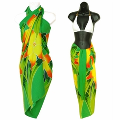 Green Hand Painted Orchid Top Quality Sarong - Fringeless Sarong