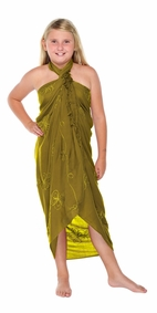 Green Light Olive Embroidered Girls Sarong