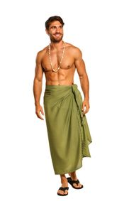 Green Olive Mens Solid Sarong