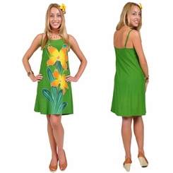 Green Womens Sundress With Hand Painted Orchid Design