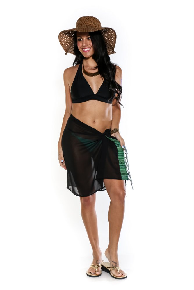 f53a76ecfb9bb Half Black Sheer Sarong with Colored Fringe. Click to Enlarge