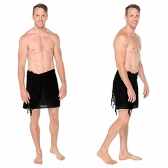 Half Mens Sarong / Mini Sarong Pareo in Black
