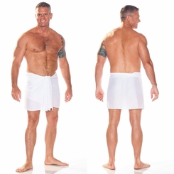 Sarong for Men, Solid Color Fringeless Sarong in White Half Short Mini Sarong