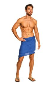 Mens Blue Half Short Mini Sarong