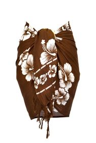 Half Sarong/Mini Sarong Hibiscus in Brown/White