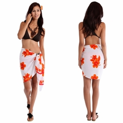 "Half Sarong/Mini Sarong Hibiscus ""White / Orange"""