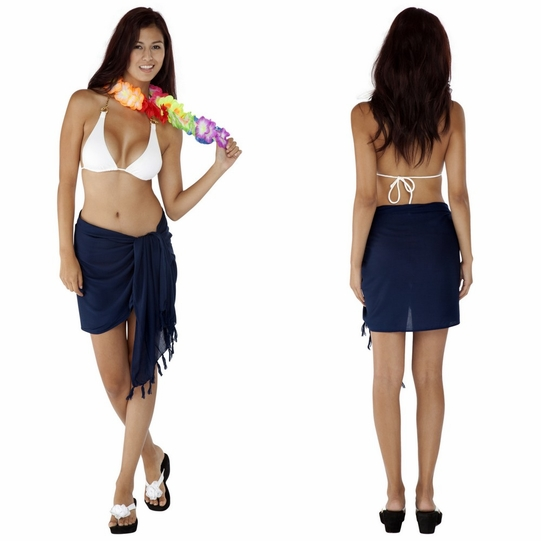 "HALF SARONG / MINI SARONG PAREO ""Navy Blue"""