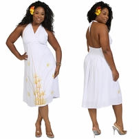 Halter Lined Plus Size Summer Dress in Bamboo White