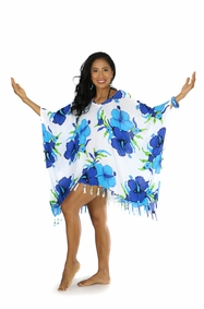 Hanalei Floral Cover-Up Fringed Poncho in Turq/White