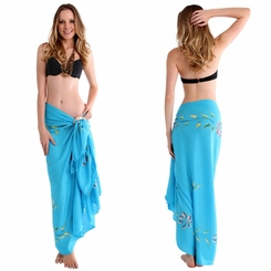 """Hand Painted Sarong Floral """"Caribbean Blue"""""""