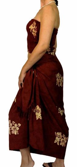 "Hawaiian Aloha Sarong / Pareo Set ""Hibiscus Brown"""