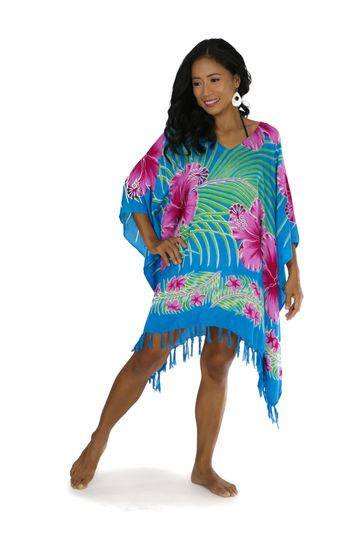 Hawaiian Floral Fringed Poncho in Turquoise/Pink