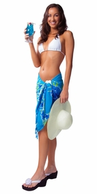 "Floral Half Sarong ""Tropical Breeze"" Blue and Green"