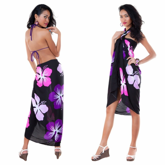 Hawaiian Floral Sarong in Black/Pink/Purple