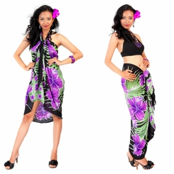 Hawaiian Floral Sarong in Purple/Black - Call to order