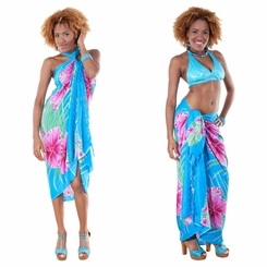 Hawaiian Floral Sarong in Turquoise/Pink