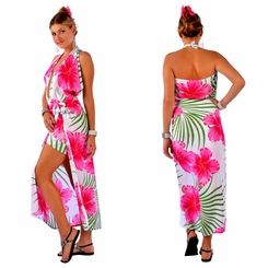 Hawaiian PLUS SIZE Sarong Pink / Green / White - Fringeless Sarong