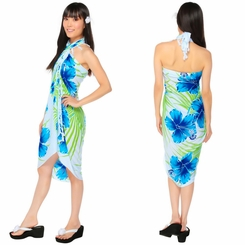 "Hawaiian Sarong ""Blue / Green / White"""