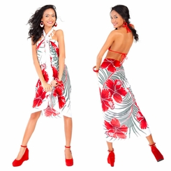 "Hawaiian Sarong ""Green / Red / White"""