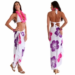 "Hawaiian Sarong ""Purple / Pink / White"""
