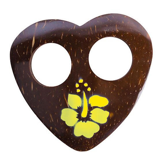 Heart Coconut Sarong Tie with Hand Painting in Yellow
