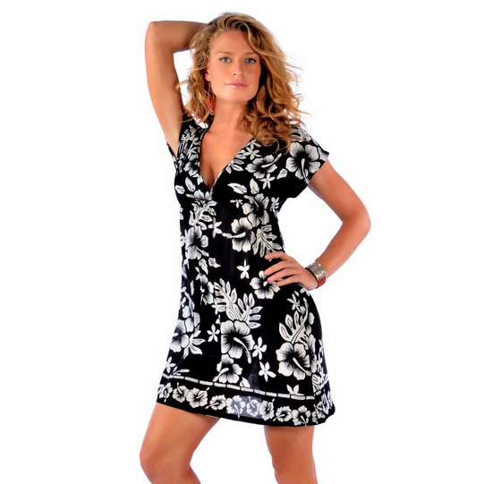 Hibiscus Black and White Cover-Up Tunic Short Dress with a Deep V-Neck