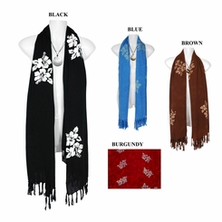 Hibiscus Floral Design Extra Wide Scarf, Wrap or Shawl - in your choice of colors