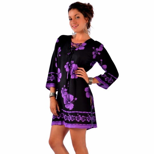Hibiscus Floral Tunic Cover-Up Black and Purple - Final Sale - No Returns