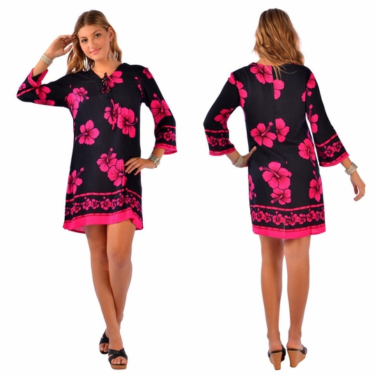 Hibiscus Floral Tunic Dress Beach Cover Up in Black and Pink