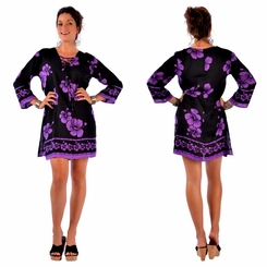 Hibiscus Floral Tunic Dress Beach Cover Up in Black and Purple
