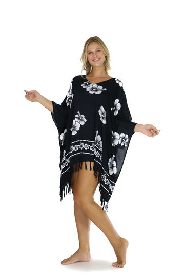 Hibiscus Flower Cover-Up Fringed Poncho in Black/White