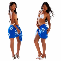 "Hibiscus Flower HALF Sarong ""Blue / White"""