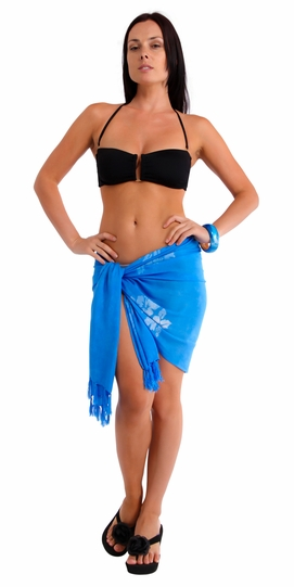 Hibiscus Flower Half Sarong in Light Blue
