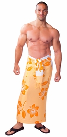 Hibiscus Flower Mens Sarong - Orange/White