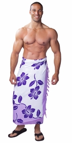 Hibiscus Flower Mens Sarong - Purple/White