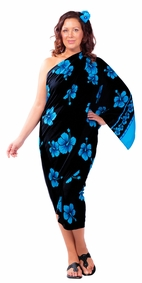 Hibiscus Flower PLUS SIZE Sarong in Aqua Blue / Black - Fringeless Sarong