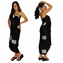 "Hibiscus Flower Sarong ""Black / Whiteish"""