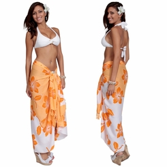 Hibiscus Flower Sarong - Orange/White
